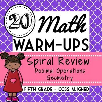 Fifth Grade Math Warm Ups, Bell Ringers, Morning Work, Set of 20, Part 9