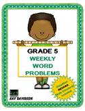 Fifth Grade Math: Weekly Word Problems and INDIANA Math Standards
