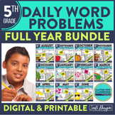 Fifth Grade Math Word Problems for the Whole School Year Bundle