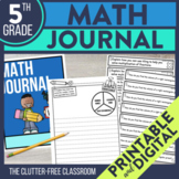 Math Writing Prompts and Journal Cover for 5th Grade | Dig