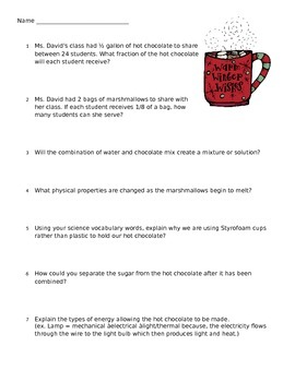 Fifth Grade Math/Science Hot Chocolate Lesson