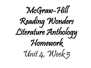Fifth Grade McGraw-Hill Wonders Literature Anthology Trifold (Unit 4, Week 5)