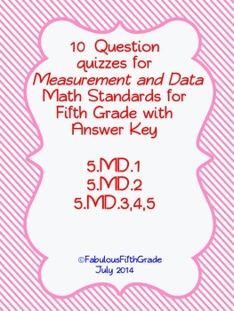 Fifth Grade Measurement and Data Quizzes
