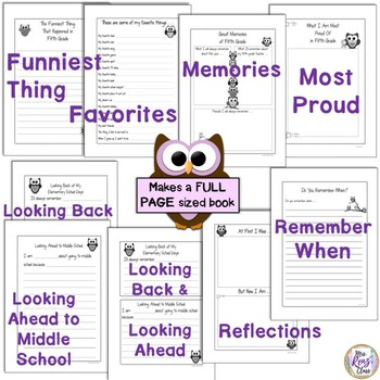 Fifth Grade Memory Book (Full Page Format Owl Theme)
