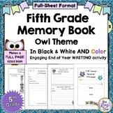 5th Grade Memory Book - Full Page Fifth grade Memory Book - Owl Theme