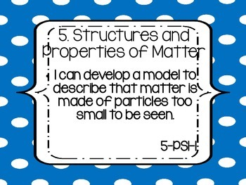 """Fifth Grade NGSS """"I can"""" statements - BLUE DOTS"""