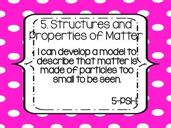 """Fifth Grade NGSS """"I can"""" statements - PINK DOTS"""