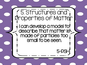 """Fifth Grade NGSS """"I can"""" statements - PURPLE DOTS"""