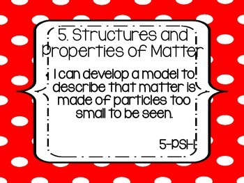 """Fifth Grade NGSS """"I can"""" statements - RED DOTS"""