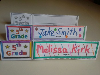 Fifth Grade Name Cards Foldable and Standable