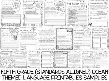 Fifth Grade No Prep Language, Reading, Writing, and Math Work Bundle