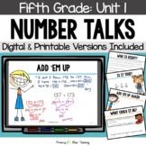 Fifth Grade Paperless Number Talks - Unit 1 (DIGITAL & Printable)