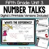 Fifth Grade Paperless Number Talks - Unit 3 (DIGITAL & Printable)