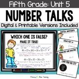 Fifth Grade Paperless Number Talks - Unit 5 (DIGITAL & Printable)