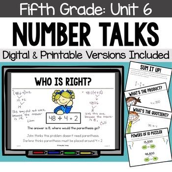 Fifth Grade Number Talks ~ Unit 6 (DIGITAL & Printable)