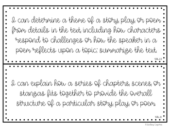 """Fifth Grade Objectives with """"I Can"""" Statement Cards {Indiana State Standards}"""