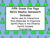Fifth Grade One Page NGSS Weekly Homework