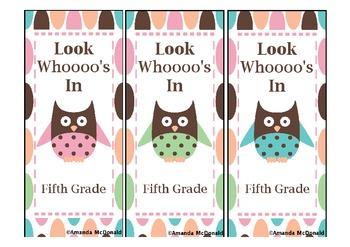 Fifth Grade Owl Bookmark