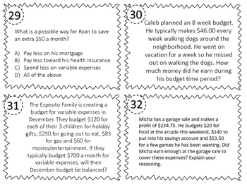 NEW Fifth Grade Personal Finance Task Cards TEK 5.10A, 5.10B, 5.10E, 5.10F