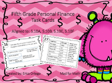 NEW Fifth Grade Personal Finance Task Cards TEK 5.10A, 5.1