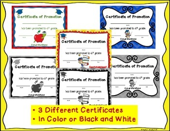 End of the Year Awards: 5th Grade Promotion Certificates and Notecards