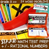 Fifth Grade Rational Numbers Math Test Prep Review Games B