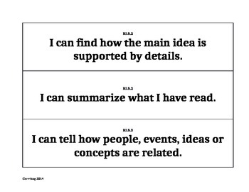 Fifth Grade Reading Common Core Pocket Chart Signs