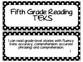 Fifth Grade Reading TEKS~ Black and White Polka Dot