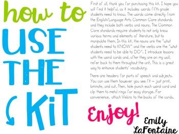 Fifth Grade Reading Word Wall Kit