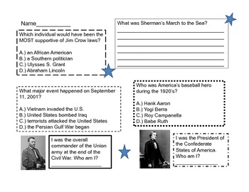 Fifth Grade Review Activity for CRCT Social Studies