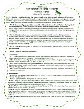 Fifth Grade Science Standards (NGSS) Reference Materials