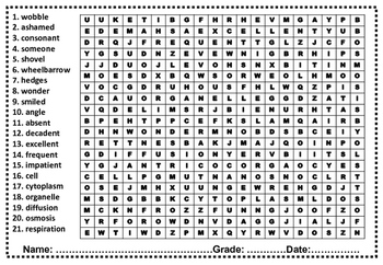 Fifth Grade Sight Words Word Search