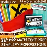 Fifth Grade Simplify Expressions Math Test Prep Review Gam