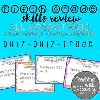 Fifth Grade Skills Review All Operations Quiz Quiz Trade