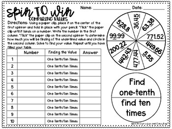 Fifth Grade Spin to Win Games - 44 Spinner Centers for Math Workshop