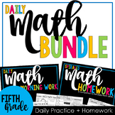 5th Grade Spiral Math Bundle: Weekly Paired Morning Work & Homework