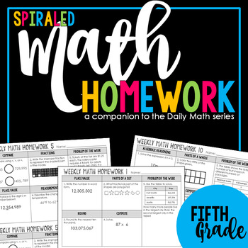 5th Grade Spiral Review: Weekly Math Homework aligned with Core Standards & TEKS