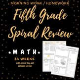 Fifth Grade Spiral Review Morning Work/Homework/ Quiz 34 Weeks!