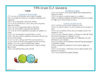 "Fifth Grade Standards - All Subjects ""I Can"" Posters & Statement Cards"