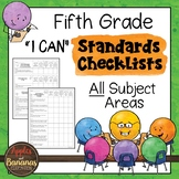 """Fifth Grade Standards Checklists for All Subjects  - """"I Can"""""""
