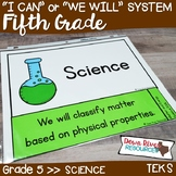 Fifth Grade Streamlined Science TEKS I Can Statements