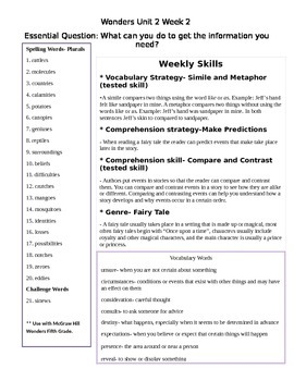 Fifth Grade Study Guide Unit 2 Week 2 McGraw Hill Wonders (beyond level words)