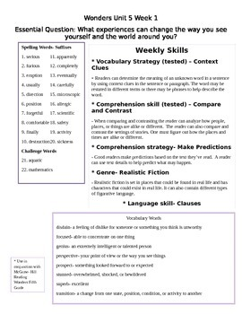 Fifth Grade Study Guide Unit 5 Week 1 McGraw Hill Wonders