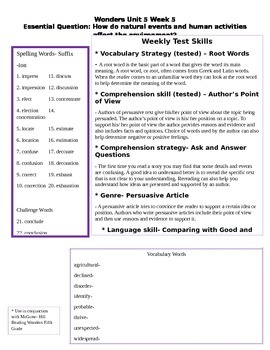 Fifth Grade Study Guide Unit 5 Week 5 McGraw Hill Wonders