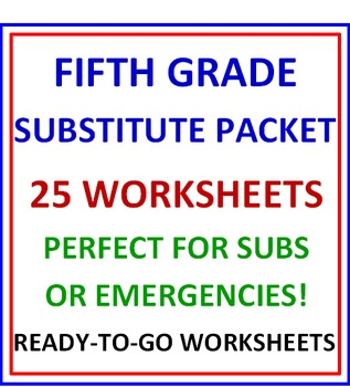 Fifth Grade Substitute BUNDLE - 25 Worksheets