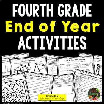 4th Grade End of Year Activities (4th Grade Last Week of School Activities)
