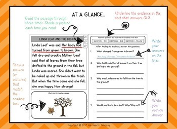 Reading Comprehension: Fall Reading Comprehension Passages and Questions