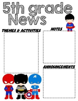 Fifth Grade Superhero - Editable Word Newsletter