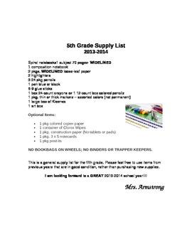 Fifth Grade Supply list Apple border