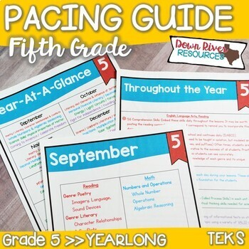 Fifth Grade TEKS Year Planner- Back to School-Texas 5th Curriculum Pacing Guide